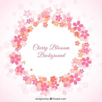 Cherry blossom couronne de fleurs fond