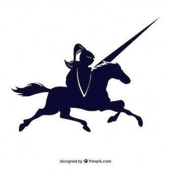 Chevalier cheval noir tiré vecteur icône