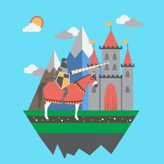 Chevalier médiéval avec son château
