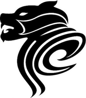 Chien vecteur icône féroce tribal