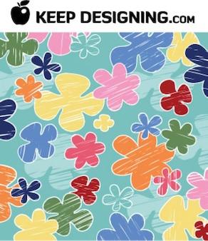 Childrens_crayon_flower_vector_wallpaper_free
