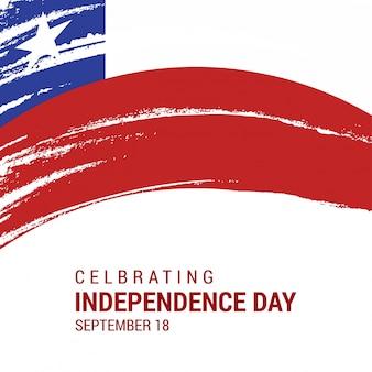 Chili Brush Stroke Country Flag avec le lettrage du Jour de l'Indépendance