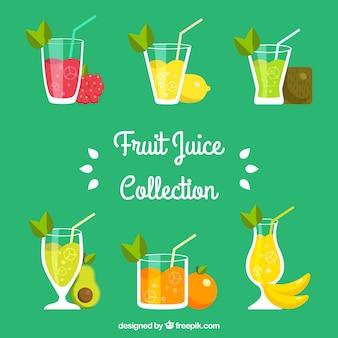 Choix plat de jus de fruits savoureux