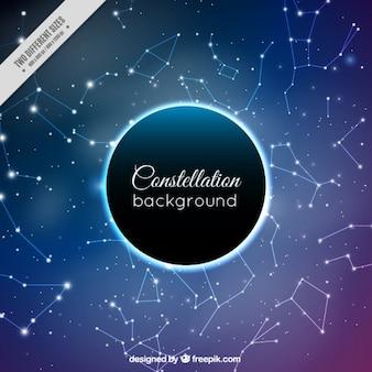 Ciel brillant avec des constellations de fond