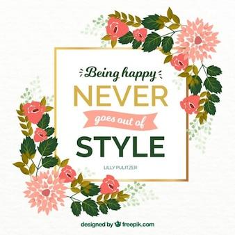 Citation inspirée sur le bonheur avec des détails floraux