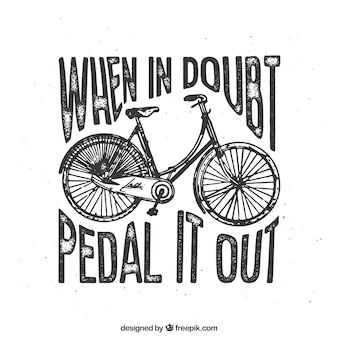 citation positive avec une main tirée bicyclette vintage