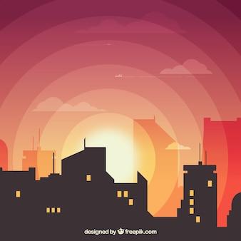 City avec lumière du soleil couchant