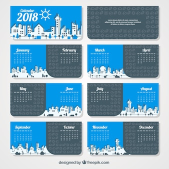 City croquis calendrier 2018