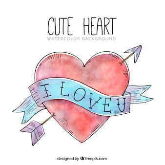 Coeur dessiné fond Aquarelle main