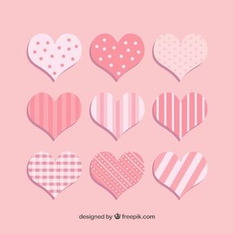 Coeurs avec collection de rayures et points
