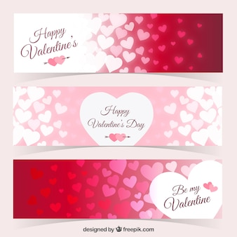Coeurs bannières emballent pour le jour de la Saint-Valentin