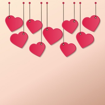 Coeurs cordes suspendues