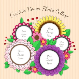 Collage photo de fleurs et de feuilles