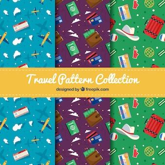 Collecte de motif de voyage à design plat coloré