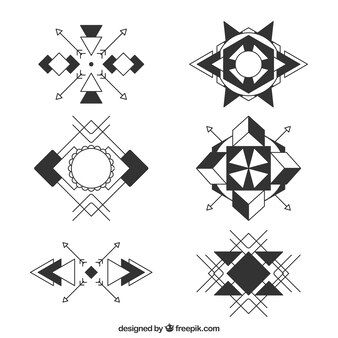 Collection abstraite de tatouage symbole géométrique