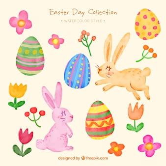 Collection Aquarelle d'articles de Pâques