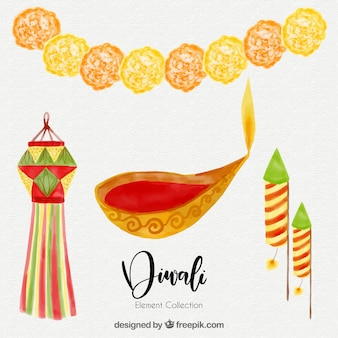 Collection aquarelle d'éléments de diwali