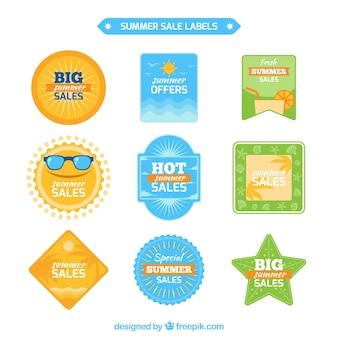 Collection colorée d'étiquettes d'été