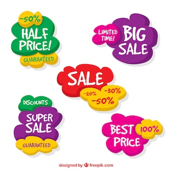 Collection colorée des étiquettes de vente