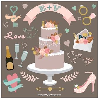 Collection d'accessoires de mariage assez dessiné à la main
