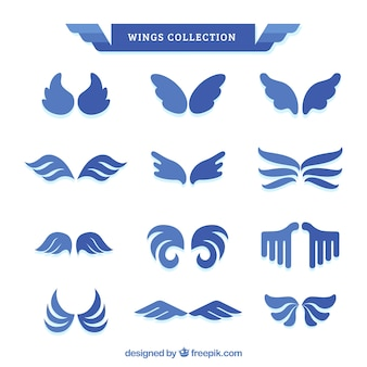 Collection d'ailes bleues en forme plate