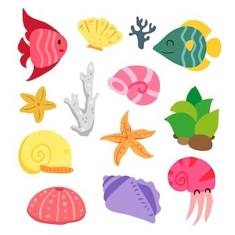 Collection d'animaux de mer