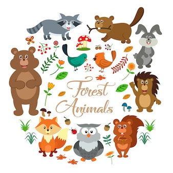 Collection d'animaux forestiers