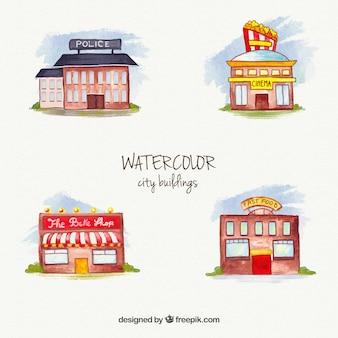 Collection d'aquarelle bâtiments de la ville