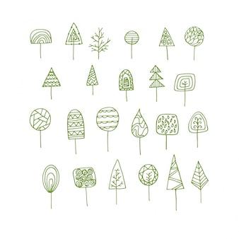 Collection d'arbres décoratifs dessinée à la main