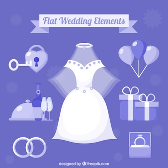 Collection d'articles de mariage fantastiques dans un design plat