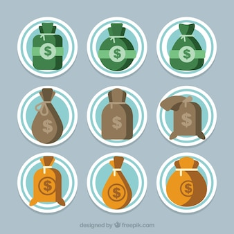 Collection d'autocollants avec sacs d'argent