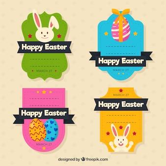 Collection d'autocollants de couleur pour le jour de Pâques