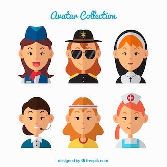 Collection d'avatar femme élégante