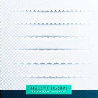 Collection d'effets d'ombres de papier en zigzag sur fond transparent