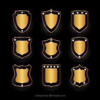 Collection d'élégantes boucliers d'or