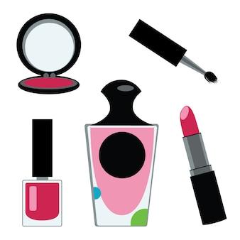 Collection d'éléments cosmétiques sur fond blanc