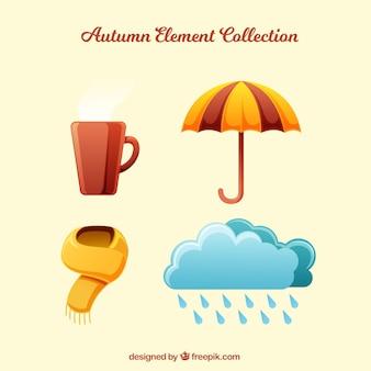 Collection d'éléments d'automne mignons