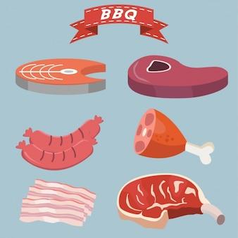 Collection d'éléments de barbecue