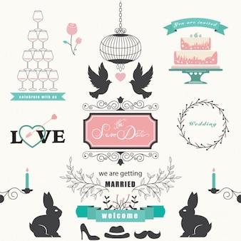 Collection d'éléments de conception de mariage
