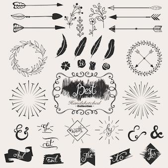 Collection d'éléments de conception esquissés à la main