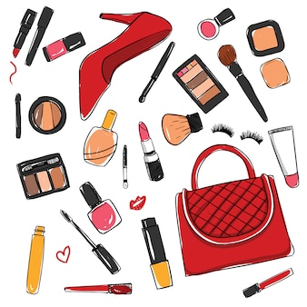 Collection d'éléments de cosmétiques