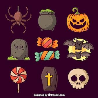 Collection d'éléments de Halloween