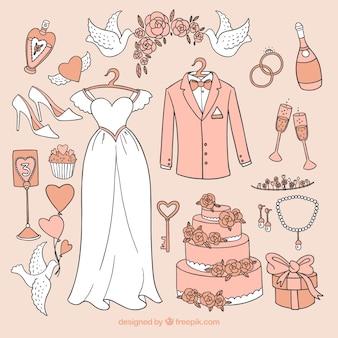 Collection d'éléments de mariage dessinés à la main