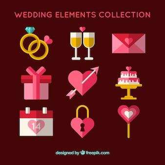 Collection d'éléments de mariage roses