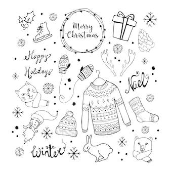 Collection d'éléments de Noël