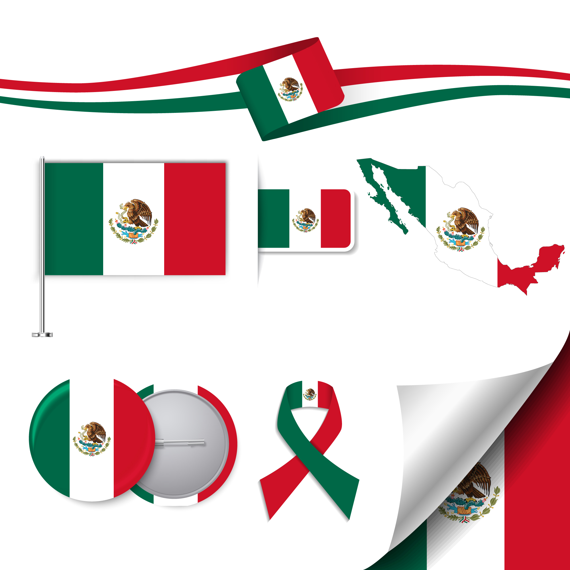 Collection d'éléments de papeterie avec le drapeau du design méxico