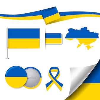 Collection d'éléments de papeterie avec le drapeau du design ukrainien