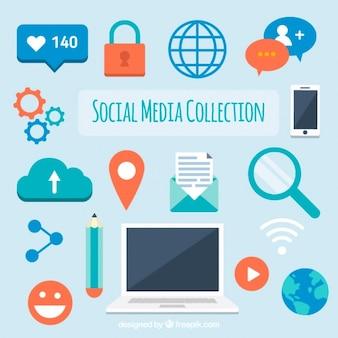 Collection d'éléments de réseaux sociaux