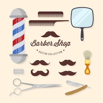 Collection d'éléments de salon de coiffure