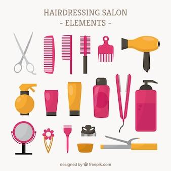 Collection d'éléments de salons de coiffure